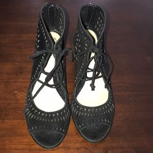 Black sandals size 10 1/2 suede like material NWT